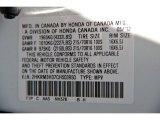 2012 CR-V Color Code for Taffeta White - Color Code: NH578