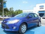 2012 Sonic Blue Metallic Ford Focus SE Sedan #66680998