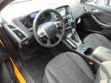 2012 Ford Focus Titanium Sedan Charcoal Black Leather Interior