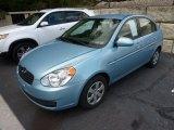 Ice Blue Hyundai Accent in 2009
