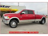 2010 Inferno Red Crystal Pearl Dodge Ram 3500 Laramie Crew Cab 4x4 Dually #71745142
