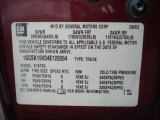 2004 Chevrolet Silverado 1500 Extended Cab 4x4 Info Tag