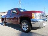 2013 Deep Ruby Metallic Chevrolet Silverado 1500 LS Crew Cab #72706042
