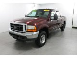 2000 Dark Toreador Red Metallic Ford F250 Super Duty Lariat Crew Cab 4x4 #75924279