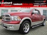 2009 Inferno Red Crystal Pearl Dodge Ram 1500 Laramie Quad Cab #77635129