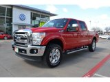 2012 Vermillion Red Ford F250 Super Duty Lariat Crew Cab 4x4 #77727198