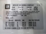 2013 Buick Encore Leather Info Tag