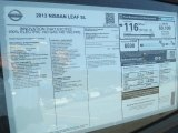 2013 Nissan LEAF SL Window Sticker