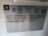2013 Chevrolet Volt  Info Tag