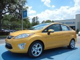 2013 Yellow Blaze Ford Fiesta Titanium Sedan #80894978