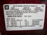 2006 Chevrolet Silverado 1500 LT Crew Cab 4x4 Info Tag
