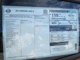 2013 Nissan LEAF S Window Sticker
