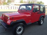 Radiant Fire Red Jeep Wrangler in 1992
