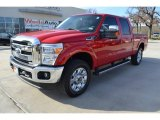 2012 Vermillion Red Ford F250 Super Duty Lariat Crew Cab 4x4 #89243264