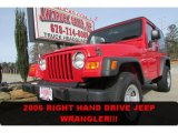 2006 Flame Red Jeep Wrangler Sport 4x4 Right Hand Drive #89301018