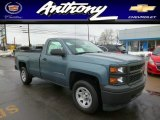 2014 Blue Granite Metallic Chevrolet Silverado 1500 WT Regular Cab 4x4 #90335440
