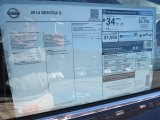 2014 Nissan Sentra S Window Sticker