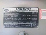 2013 Land Rover Range Rover HSE LR V8 Info Tag