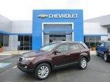2011 Dark Cherry Kia Sorento LX V6 AWD #93752475