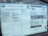 2015 Nissan Versa 1.6 S Plus Sedan Window Sticker