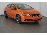 2015 Orange Fire Pearl Honda Civic Si Sedan #99173005