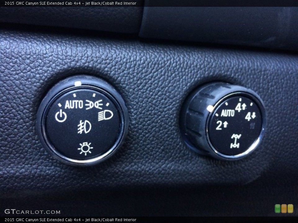 Jet Black/Cobalt Red Interior Controls for the 2015 GMC Canyon SLE Extended Cab 4x4 #101519389