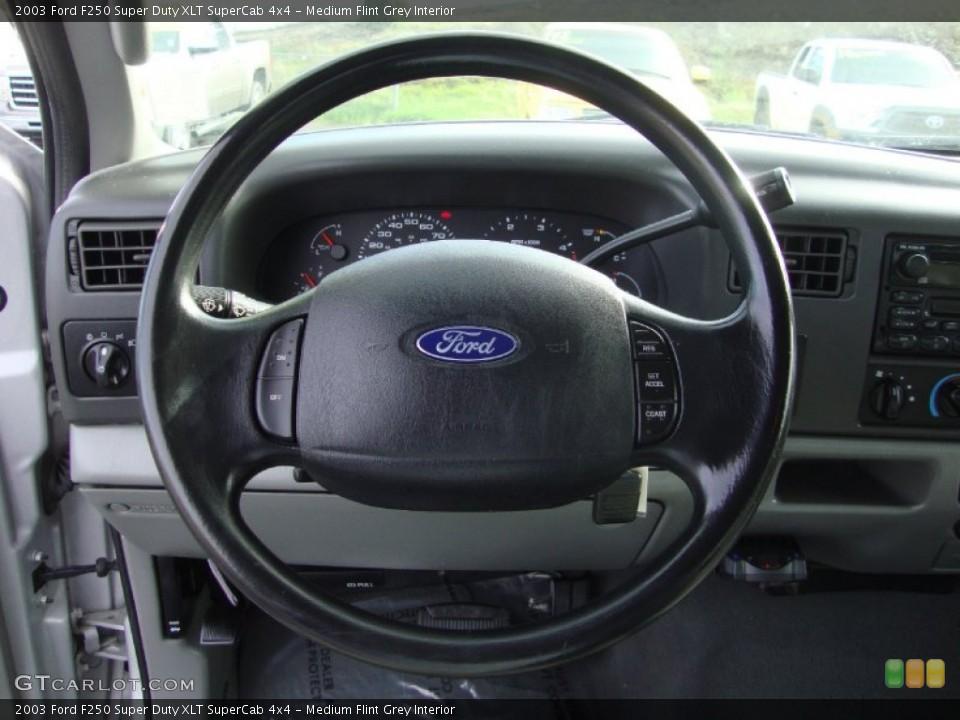 Medium Flint Grey Interior Steering Wheel for the 2003 Ford F250 Super Duty XLT SuperCab 4x4 #101529042