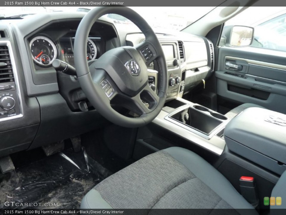 Black/Diesel Gray 2015 Ram 1500 Interiors