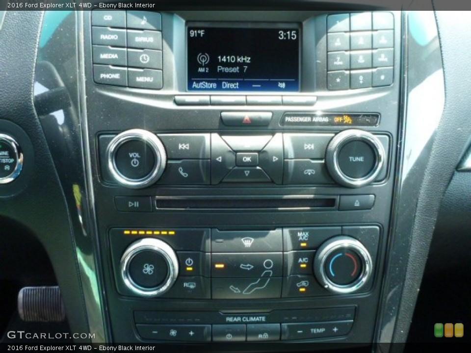 Ebony Black Interior Controls for the 2016 Ford Explorer XLT 4WD #104725132