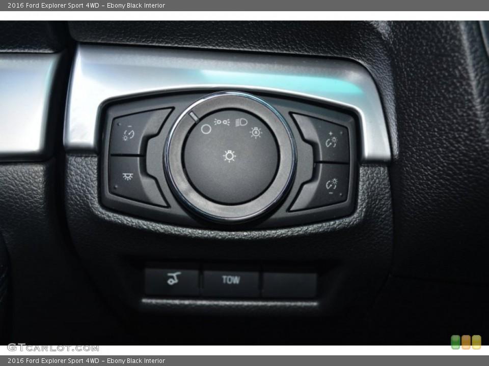 Ebony Black Interior Controls for the 2016 Ford Explorer Sport 4WD #104920910