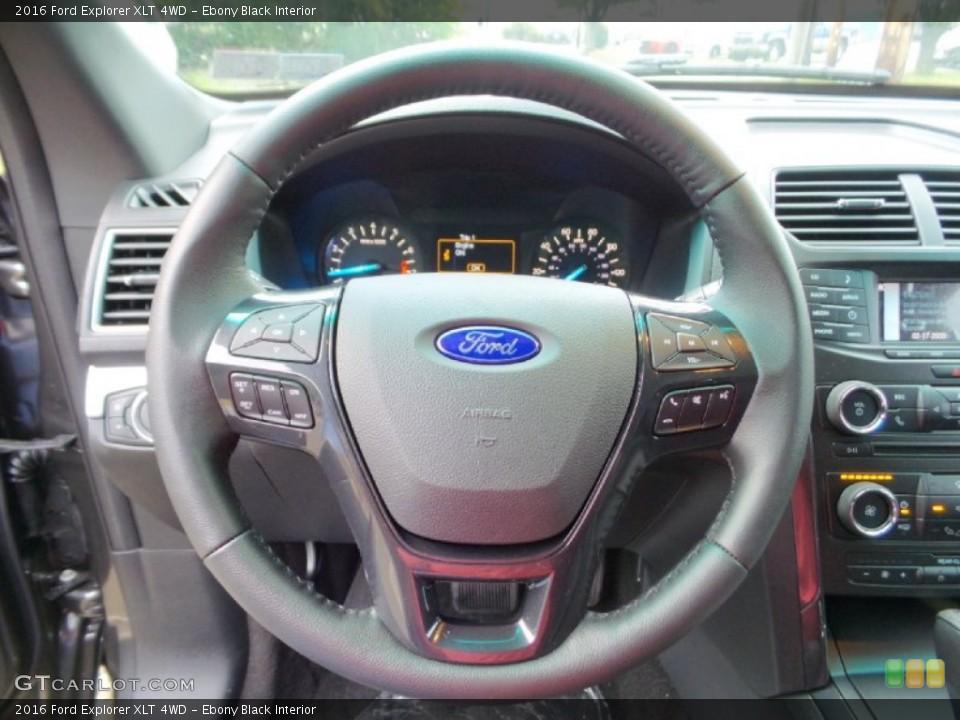 Ebony Black Interior Steering Wheel for the 2016 Ford Explorer XLT 4WD #106094242