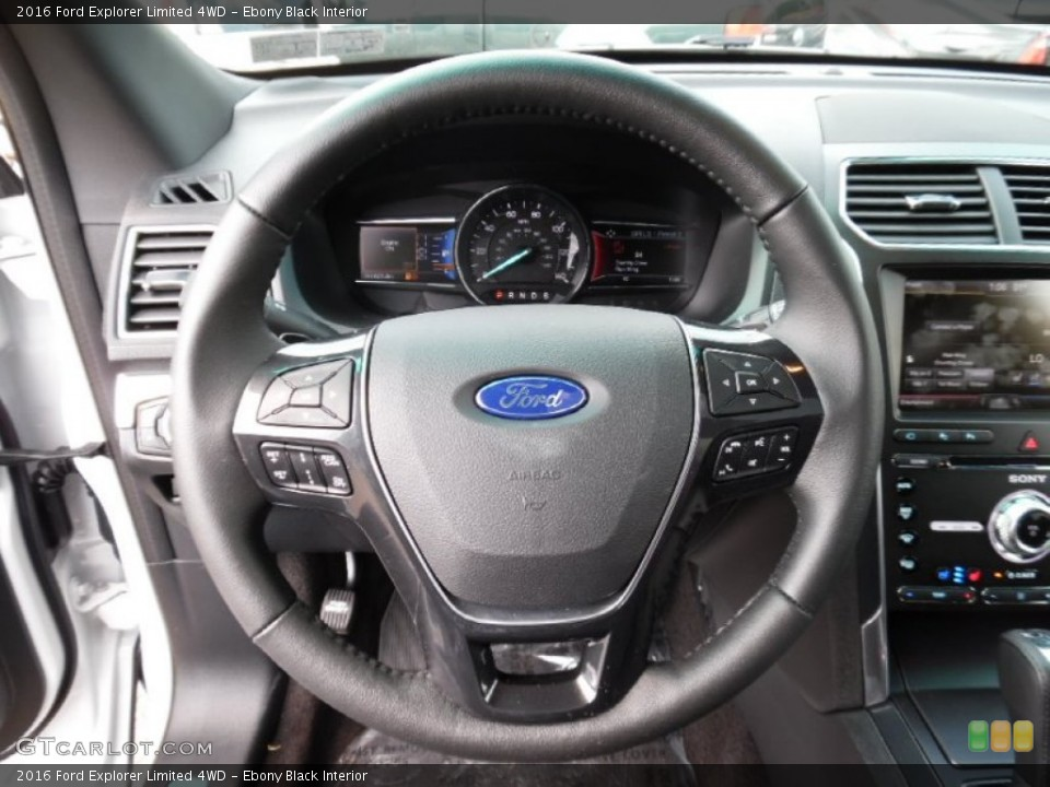 Ebony Black Interior Steering Wheel for the 2016 Ford Explorer Limited 4WD #106991722