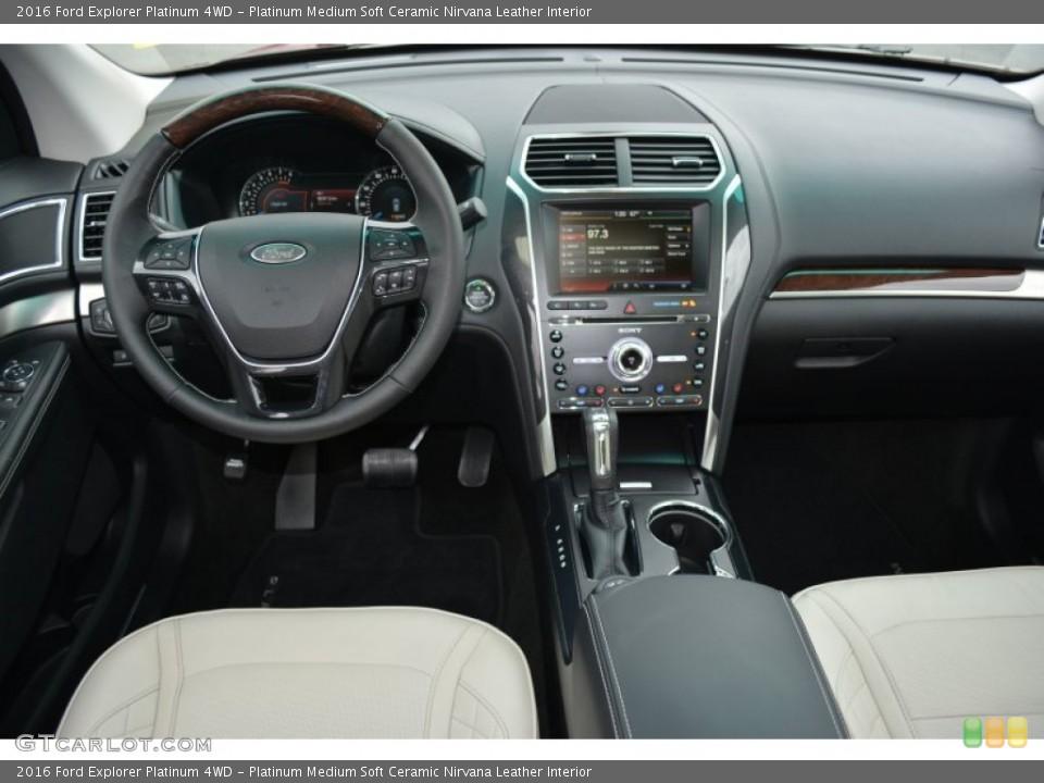 Platinum Medium Soft Ceramic Nirvana Leather Interior Dashboard for the 2016 Ford Explorer Platinum 4WD #108313344