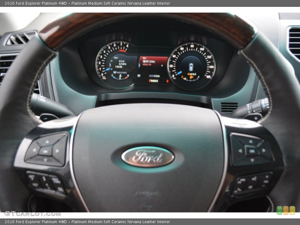 Platinum Medium Soft Ceramic Nirvana Leather Interior Steering Wheel for the 2016 Ford Explorer Platinum 4WD #108313437