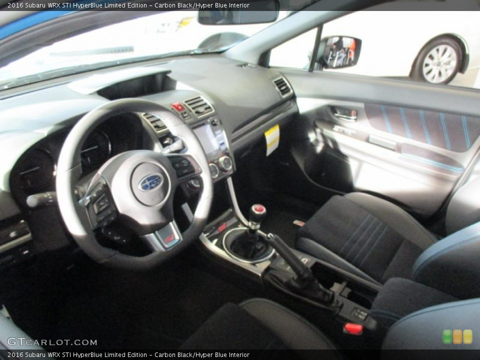 Carbon Black/Hyper Blue 2016 Subaru WRX Interiors