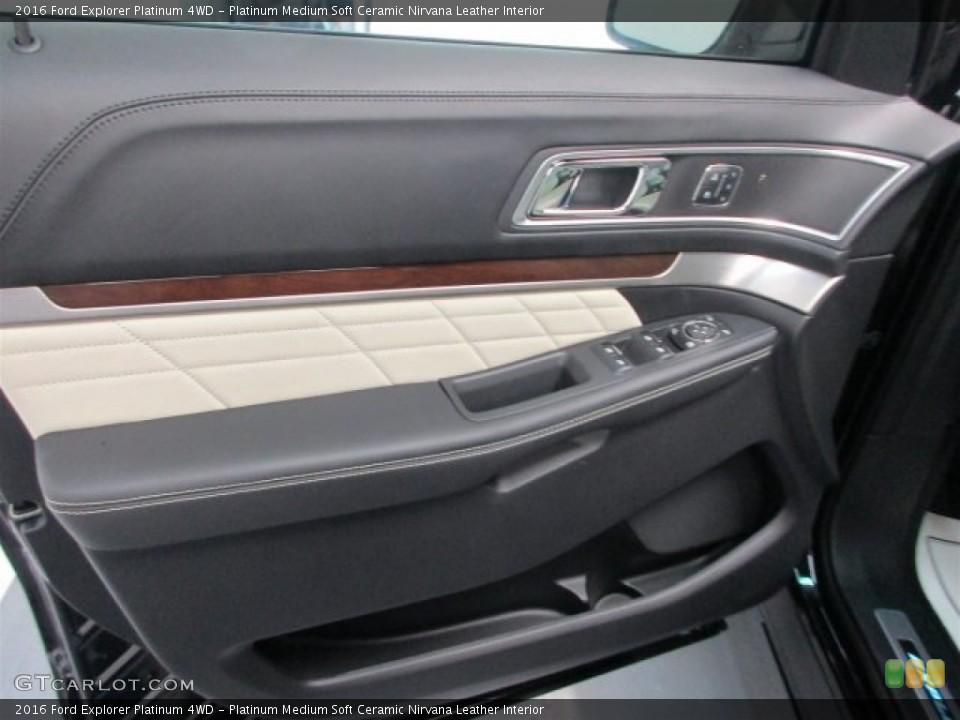 Platinum Medium Soft Ceramic Nirvana Leather Interior Door Panel for the 2016 Ford Explorer Platinum 4WD #109404411