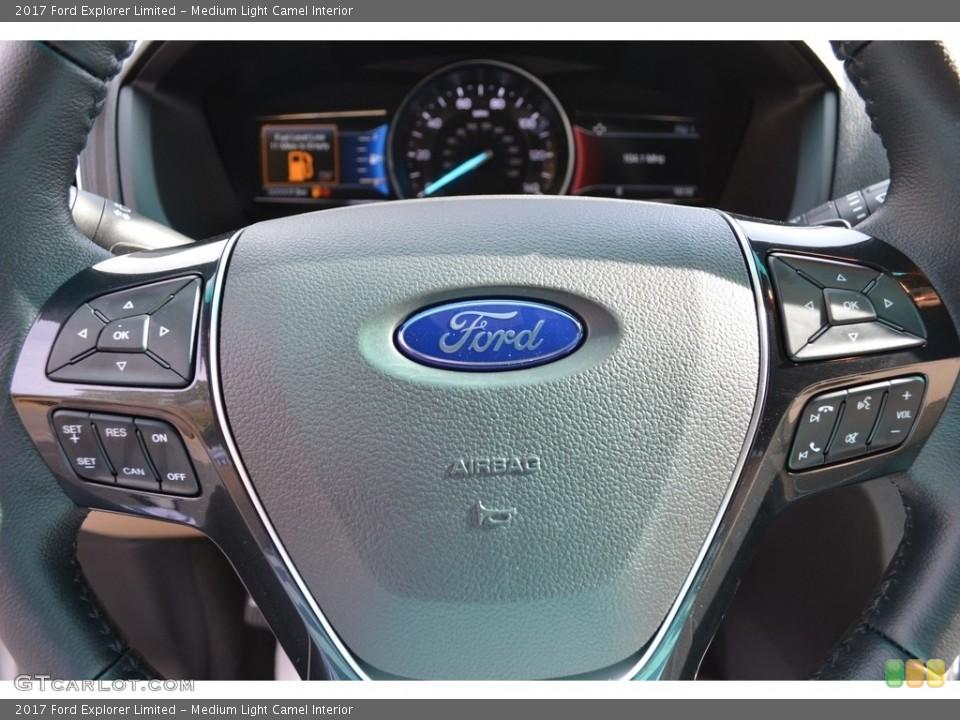 Medium Light Camel Interior Steering Wheel for the 2017 Ford Explorer Limited #117188818