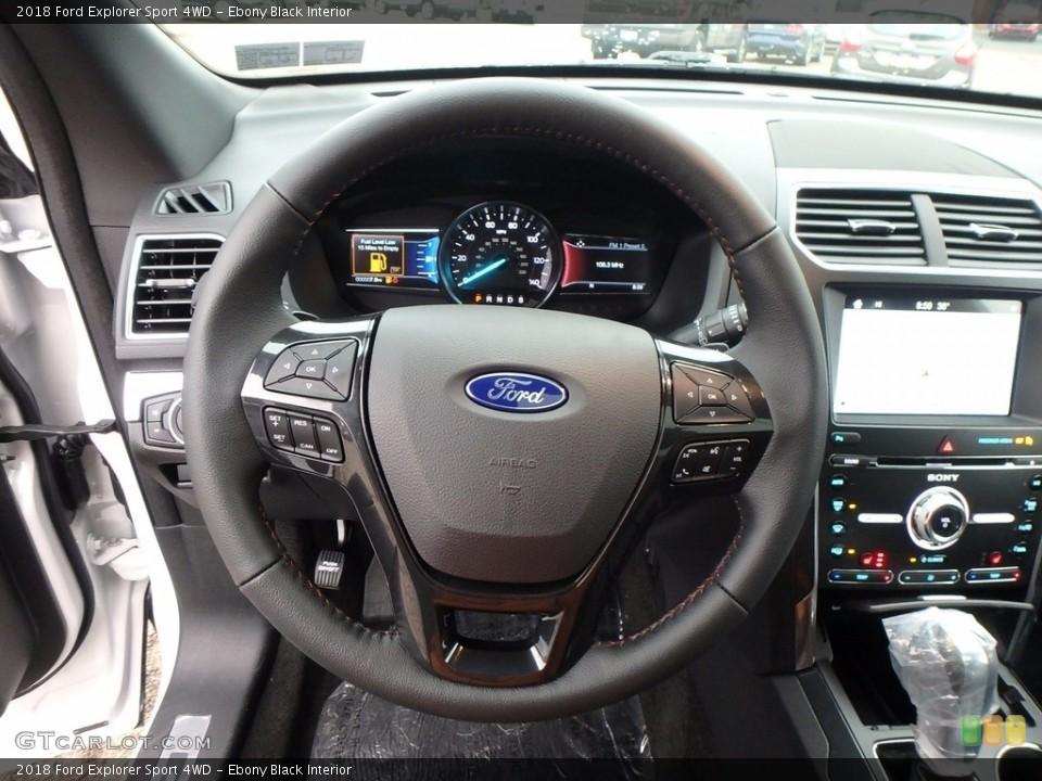 Ebony Black Interior Steering Wheel for the 2018 Ford Explorer Sport 4WD #123895534