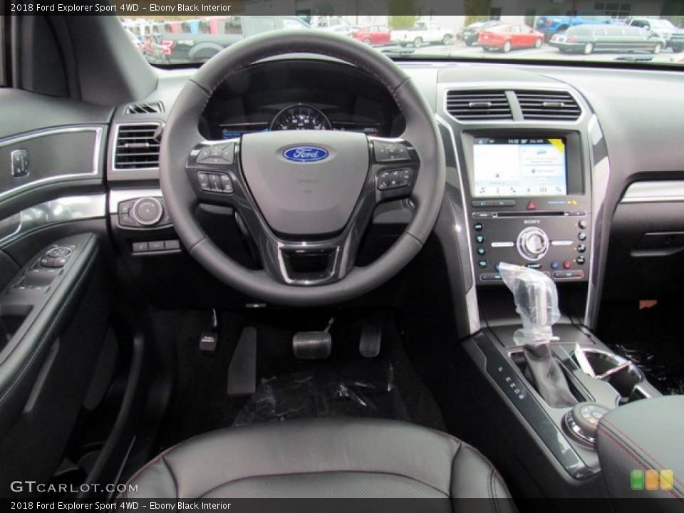 Ebony Black Interior Dashboard for the 2018 Ford Explorer Sport 4WD #124302255