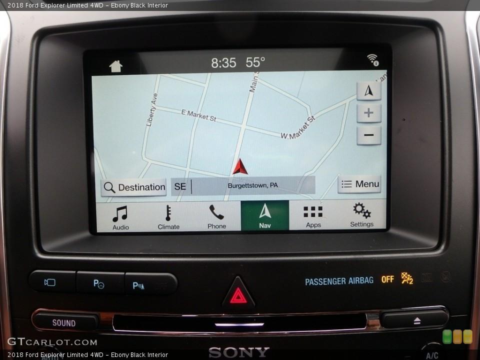 Ebony Black Interior Navigation for the 2018 Ford Explorer Limited 4WD #126815378