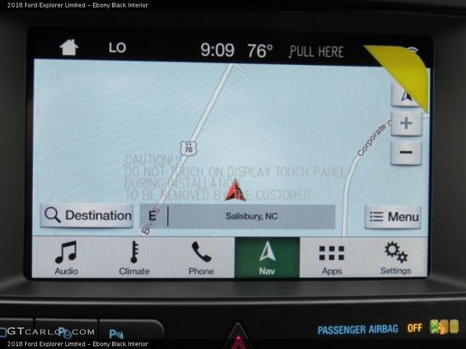 Ebony Black Interior Navigation for the 2018 Ford Explorer Limited #128980018