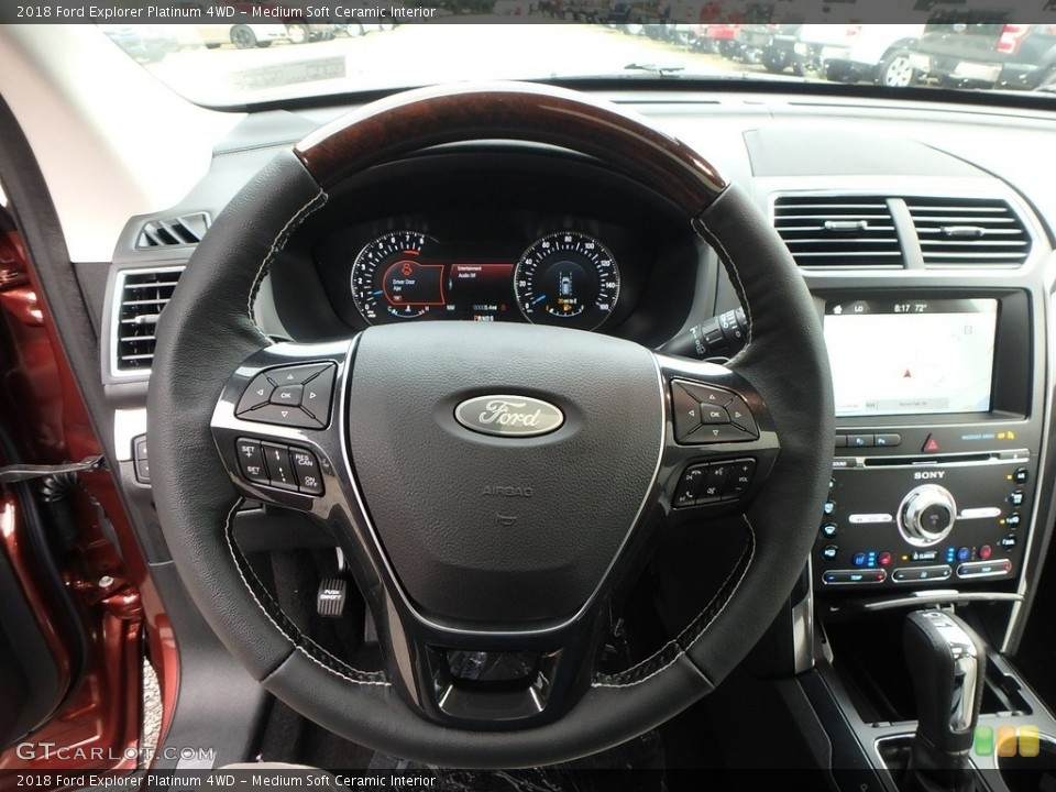 Medium Soft Ceramic Interior Steering Wheel for the 2018 Ford Explorer Platinum 4WD #129267024