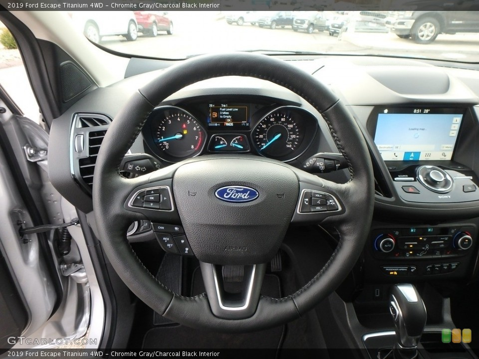 Chromite Gray/Charcoal Black Interior Steering Wheel for the 2019 Ford Escape Titanium 4WD #130433572