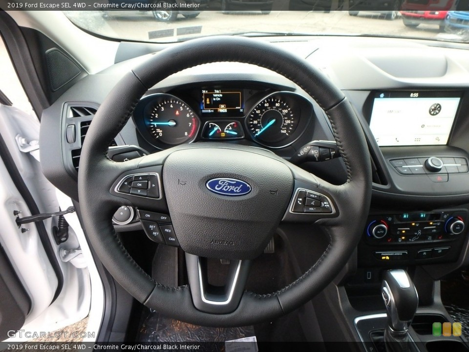 Chromite Gray/Charcoal Black Interior Steering Wheel for the 2019 Ford Escape SEL 4WD #130958403