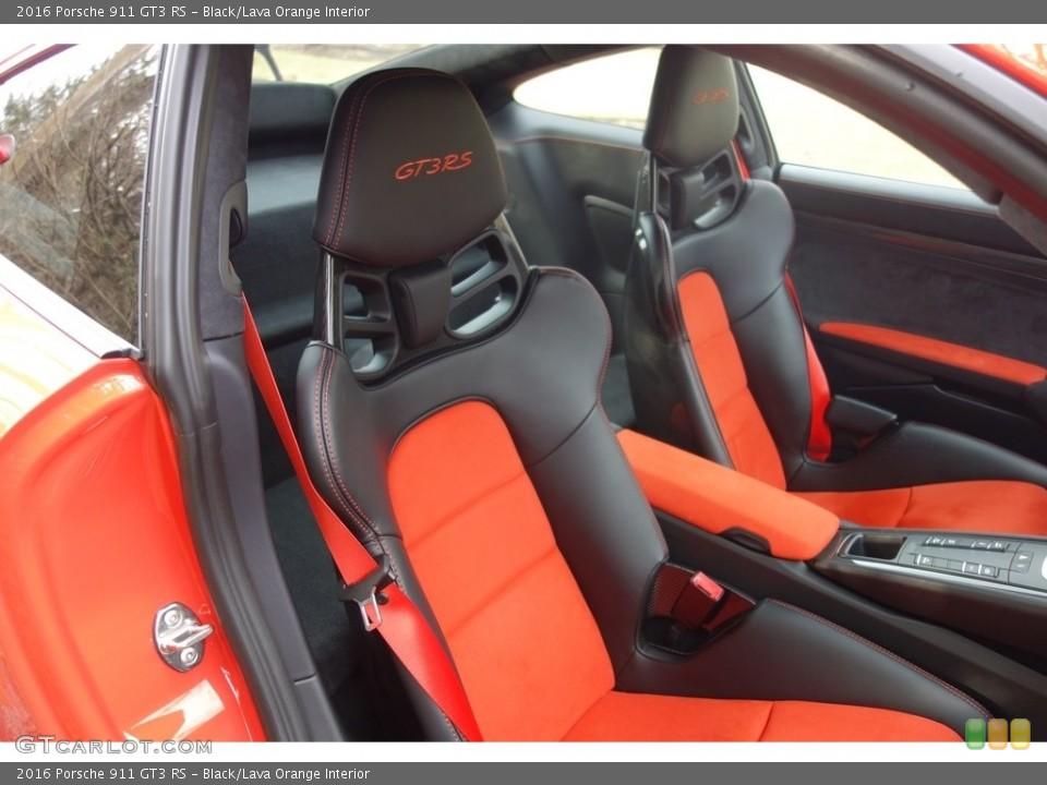 Black/Lava Orange 2016 Porsche 911 Interiors