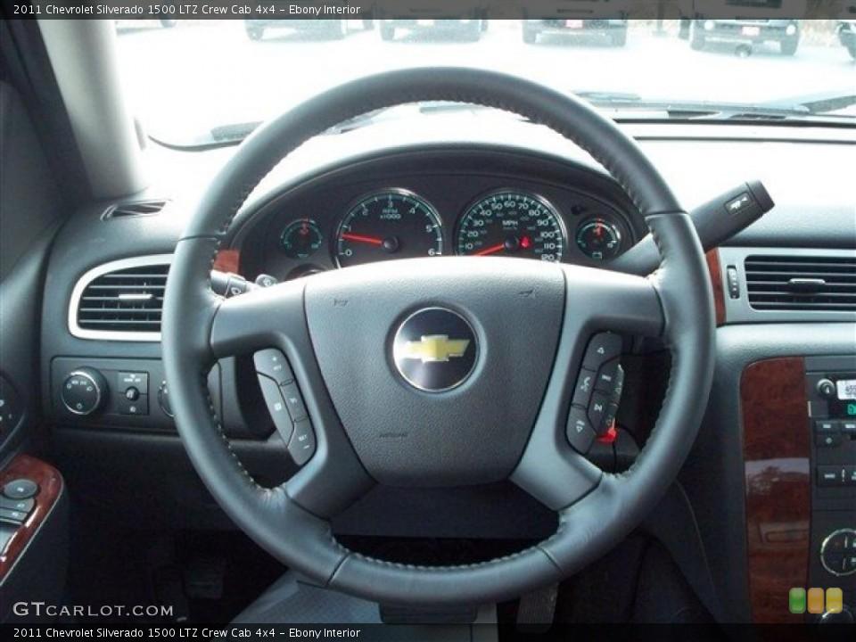 Ebony Interior Steering Wheel for the 2011 Chevrolet Silverado 1500 LTZ Crew Cab 4x4 #38072009