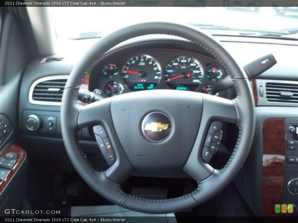 Ebony Interior Steering Wheel for the 2011 Chevrolet Silverado 1500 LTZ Crew Cab 4x4 #38105329