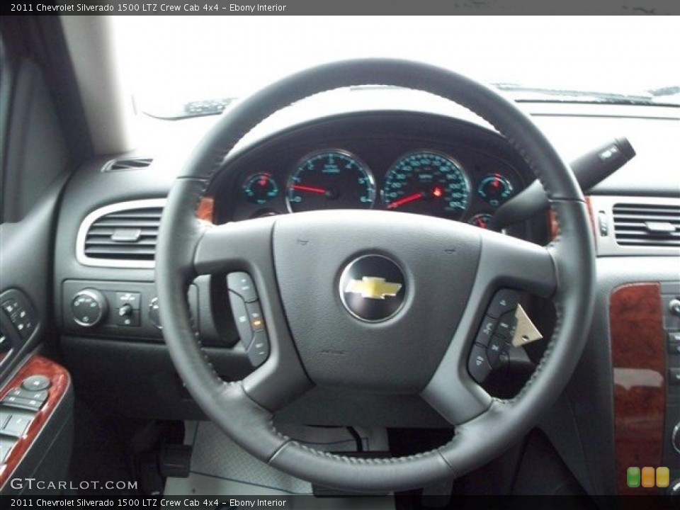 Ebony Interior Steering Wheel for the 2011 Chevrolet Silverado 1500 LTZ Crew Cab 4x4 #38105731