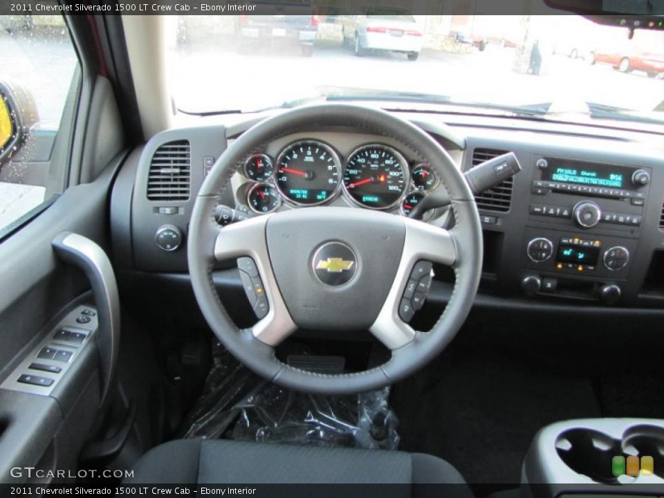 Ebony Interior Steering Wheel for the 2011 Chevrolet Silverado 1500 LT Crew Cab #38404012