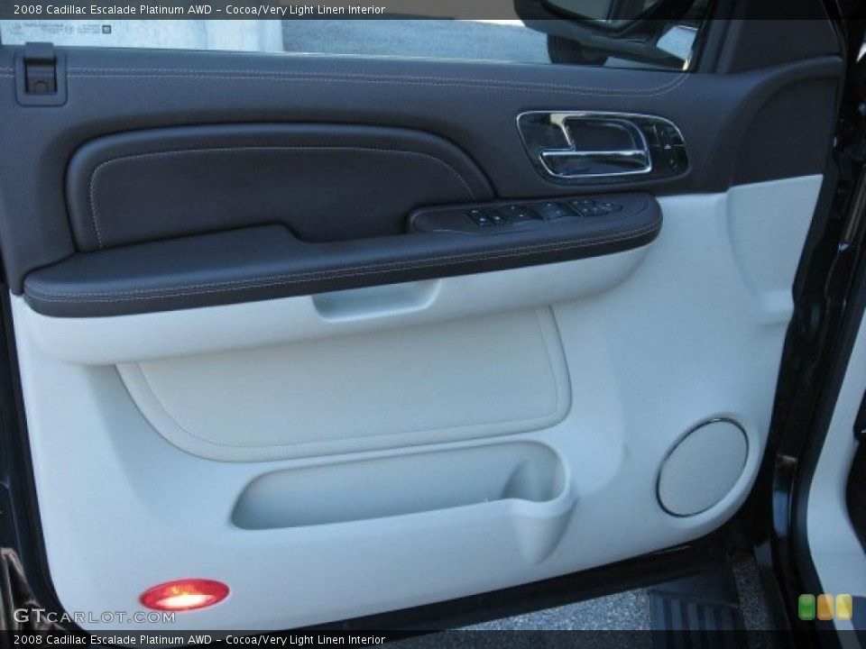 Cocoa/Very Light Linen Interior Door Panel for the 2008 Cadillac Escalade Platinum AWD #39171742